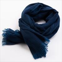 藍の先染め織物 青縞ストール 〔タテ約185cm×ヨコ約60cm〕 埼玉県 服飾雑貨 喜之助紺屋