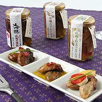 牡蠣の旨みと香りが味わえる3本セット〈 海組二 〉アヒージョ・燻製オリーブオイル漬け・ピクルス   牡蠣の家しおかぜ・岡山県