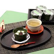 小倉あんに村上挽茶(玉露)を使用した 自家製抹茶あんの「二層あん」 村上茶冷やしぜんざい