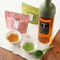 フィルターインボトルセット〔抹茶入玄米茶、棒ほうじ、フィルターインボトル、計量スプーン、桜型湯呑み〕