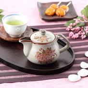 お茶はもちろん紅茶にも利用できる  九谷焼【多用途急須】 しだれ桜 小【裏絵】