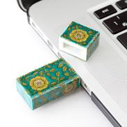 九谷焼USBメモリ 青地唐草 朝日電機製作所・石川県
