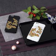 高盛り蒔絵iPhone6カバー 小菊(ブラック、ホワイト)