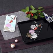 高盛り蒔絵iPhone6カバー 小鳥と牡丹(ブラック、ホワイト)