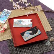 高盛り蒔絵iPhone6Plusカバー 波裏富士(ブラック、ホワイト)