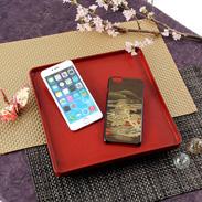 山水画をiPhoneカバーに! 高盛り蒔絵iPhone6Plusカバー 山水