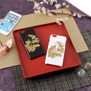 高盛り蒔絵iPhone6Plusカバー 小菊(ブラック、ホワイト)