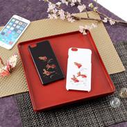 高盛り蒔絵iPhone6Plusカバー 金魚(ブラック、ホワイト)