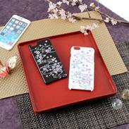高盛り蒔絵iPhone6Plusカバー 桜(ブラック、ホワイト)