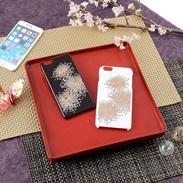 不老長寿の糸菊柄 高盛り蒔絵iPhone6Plusカバー 糸菊(ブラック、ホワイト)