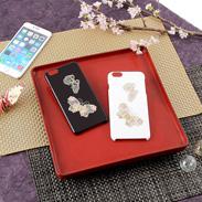 高盛り蒔絵iPhone6Plusカバー 蝶(ブラック、ホワイト)