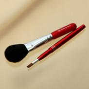 熊野化粧筆メイクブラシ2点セット [チークブラシ&携帯リップブラシ]レッドパール