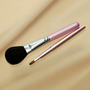 熊野化粧筆メイクブラシ2点セット [チークブラシ&携帯リップブラシ] ピンクパール