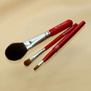 熊野化粧筆メイクブラシ3点セット [灰リス100%チークブラシ(S)&シャドウブラシ&携帯リップブラシ]レッドパール