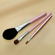 熊野化粧筆メイクブラシ3点セット [最高級山羊チークブラシ&高級シャドウブラシ&携帯リップブラシ]ピンクパール