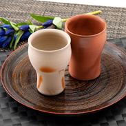 良質の陶土を焼き締めた赤みの強い味わい 備前焼フリーカップ