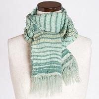 さき織ショール 横段柄 グリーン系 一点もの 肌ざわりのよい絹織物〔幅350mm×長さ1300mm〕
