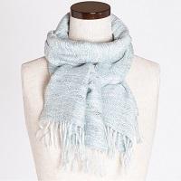 手織りショール 波模様入り 一点もの 肌ざわりのよい絹織物〔幅330mm×長さ1500mm〕