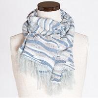 さき織ショール 波模様を織り込んだ一点もの 肌ざわりのよい絹織物〔幅450mm×長さ1450mm〕