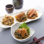 豪華松前漬よりどり4種 サンスイ食品株式会社 北海道 4種の海の幸が入った松前漬を食べ比べできる贅沢なセット。