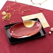 和食や洋食にも合う 7.0おもてなし鉢 吟朱 日月