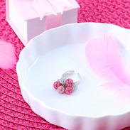 エリズ・オリジナルデザイン クリスタル・グラデーションリング(ピンク系)