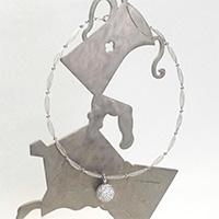 エリズ・オリジナルデザイン  メッシュワイヤーチョーカー& クリスタルボール ネックレス