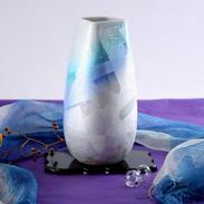 加賀百万石の伝統文化 九谷焼 銀彩 10号 台付花瓶