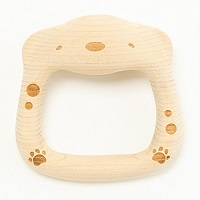 木村木品製作所 ひばの木の香りと鈴の音が眠りをさそうベビー玩具 はちまんわんこ 正面〔W90×D90×H30〕