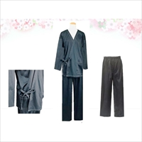 紳士用作務衣 タウンカジュアル 黒 M L 〔上着×1・パンツ×1〕 作務衣 メンズファッション 兵庫 ファッションオフィスエイ
