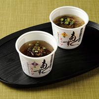 もずくスープ〔醤油もずくスープ(もずく40g、スープ15g、七味唐辛子、乾燥ネギ)・味噌もずくスープ(もずく40g、スープ15g、七味唐辛子、乾燥ネギ)×各7〕