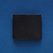 リザード革札入(ブラック)〔素材 本体:オイルマット染リザード革、内側:カーフ革、縦9.6×横10.8×厚み2�p〕
