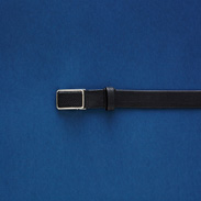 メンズベルト リザード革インステッチ(ブラック)〔素材 表 オイルマット染リザード革、裏 牛革(吟ズリ)、幅約3�p、最大ウエスト約100�p〕