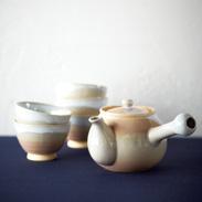 萩焼 茶こし付茶器揃セット 〔茶こし付急須 高さ9.5×径10.5�p(口径7.5�p)、汲出し碗 高さ5.5×径8�p〕