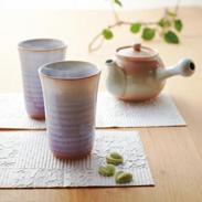 萩焼 ペアフリーカップ 2個〔カップ容量300ml、高さ11.5×径8�p〕