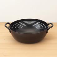鉄共柄天ぷら鍋(20�p) 燕三 〔約高さ7�p×径20cm、厚み約2mm〕