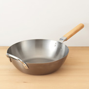 鉄木柄いため鍋(28�p) 燕三 〔約高さ8�p×径28cm、厚み約1.6mm〕
