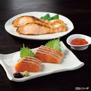 えりも特産詰合せ 3種 〔時鮭半切身1.3�s、いくら醤油漬280g×2瓶、時鮭刺身用150g×2個〕