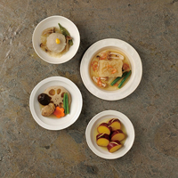 日本のおいしいお料理 お惣菜詰合せ〔煮物(鶏肉と野菜120g×2、さつま芋レモン煮120g)、蒸し物(桜えび入大根餅140g、蓮根万頭160g)〕