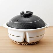 9号ヘルシー土鍋(2景仕切り)〔高さ17.5×幅31.2×奥行28�p〕