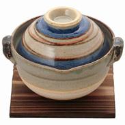 萬古焼 青渦茶碗鍋 敷板付〔茶碗鍋 高さ12.5×幅17.5×奥行き15.5cm、敷板 高さ0.8×幅15×奥行き15cm〕