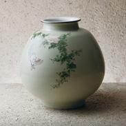 九谷焼8号花瓶舞〔急須 高さ24×径23.5�p(口径12.4�p)〕