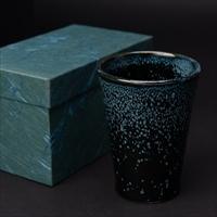 雪夜天目釉フリーカップ 〔口径約8cm、高さ11cm〕 新潟県 食器 羊工房