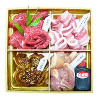 豊栄食肉センター 三重のブランド焼肉セット〔牛モモ・豚バラ・豚バラ味噌味・鶏モモ×各100g・たれ50g×1〕