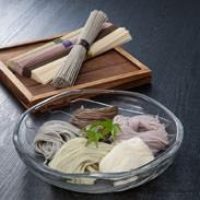 百寿 株式会社山一  長崎県 黒ごま、ひじき、紫いもなど、自然の恵みを練りこんだ色あざやかな手延べ麺の詰め合わせ