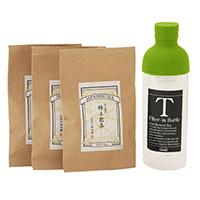 美濃白川茶 水出し茶ミニセット〔HARIOフィルターインボトル300ml、特上煎茶3袋、茶さじ1個〕