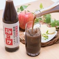 搾ったままの果汁100%リンゴに梅エキスを配合したオリジナルジュース梅の力6本セット〔500ml×6本〕