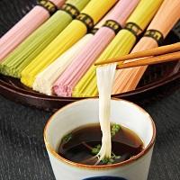 三輪の七福素麺ギフトセット〔白・うめ・しそ・かぼちゃ・柚・人参・ほうれん草〕