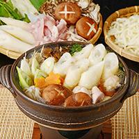 煮込みうどん&やわらか地鶏きりたんぽセット2〜3人前〔きりたんぽ、饂飩、鶏、スープ、こんにゃく、野菜〕