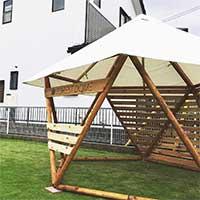 フォレストドーム テント東屋〔フレーム×25本・金物一式・垂木×10本・TEIJINシャガールテント×1張〕